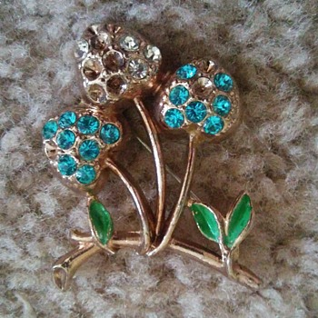 Gold tone, blue, and some green pin  - Costume Jewelry