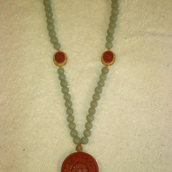 Vintage Jade Cinnabar Necklace
