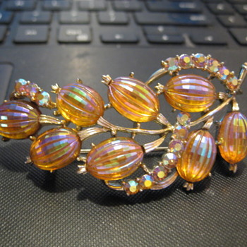 CORO Irridescent Amber AB molded glass Melon floral brooch - Costume Jewelry