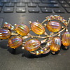 CORO Irridescent Amber AB molded glass Melon floral brooch