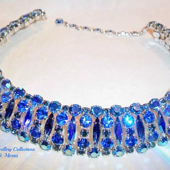 Very Rare Sherman Signed SaphireDark Blue and Peacock Med Blue Rhinestone Choker Necklace. - Costume Jewelry
