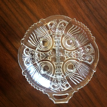 Round Divided Dish, one handle, Approx 7.5 inch diameter - Glassware