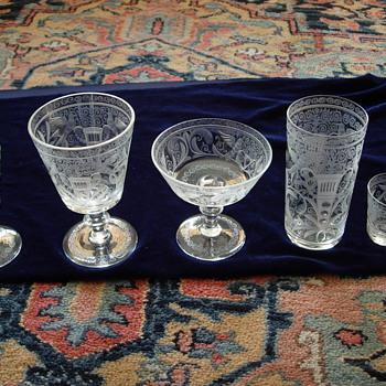 czech bohemian engraved glassware - Glassware