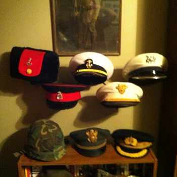 Military hat collection display - Hats