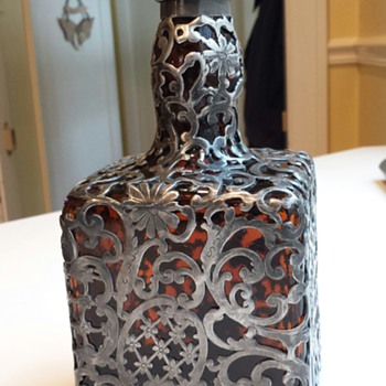 Pewter? Overlay Hannis Distillery Co. Bottle/Decanter
