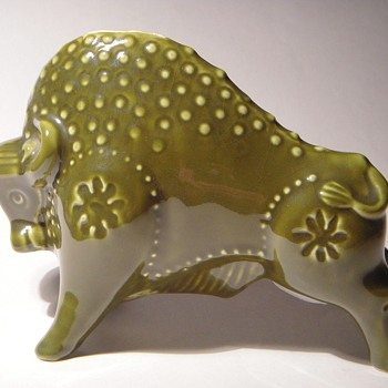 Decorative Pottery Bank~BULL~Wonderful Shape & Color