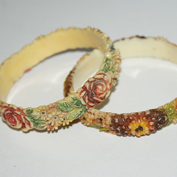 Two Celluloid Vintage Bangles - Costume Jewelry