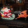 Blow Mold Santa Sleigh and Reindeer Empire Plastics 1970