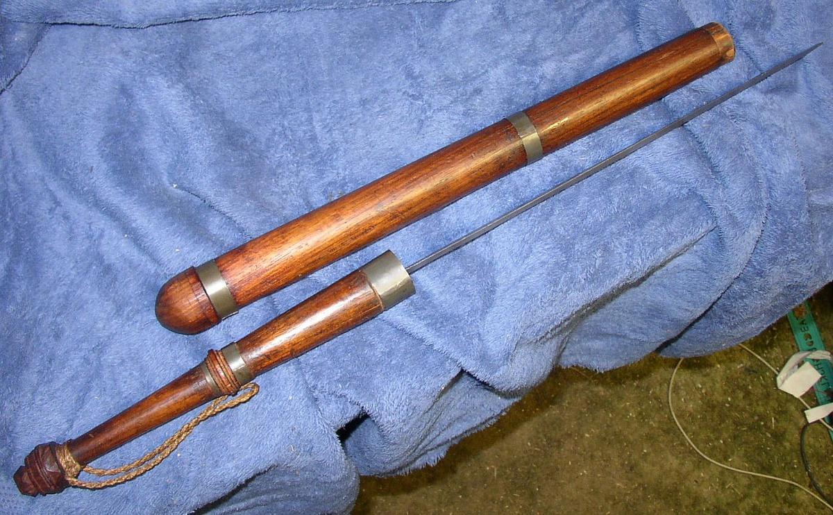 Old Hand Carved Police Night Stick Baton Hidden Sword