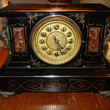 New Haven Cast Iron Marble Lion/Gargoyle Clock - Clocks