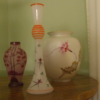 Gotta Be CZECH! Unusual Hand-decorated Clambroth Glass Vase - Art Glass