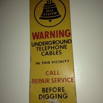 Metal Bell System 1964-1969 logo underground cable sign - Signs