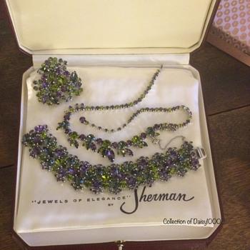 Sherman Jewelry Set — Oviline, Cardinal, Black Diamond (Uncommon Bracelet) - Costume Jewelry
