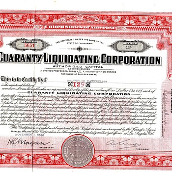 Guaranty Liquidation Corporation Common Stock Certificate from 1930