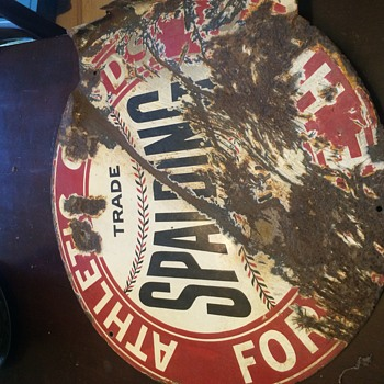 Spalding athletic goods porclin metal sign