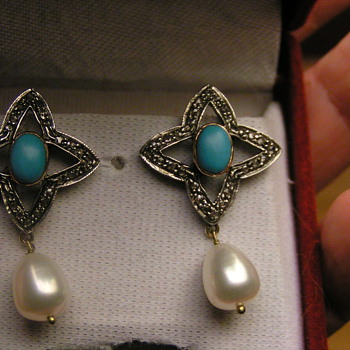 gold, diamond, turquoise & pearl earrings - Fine Jewelry
