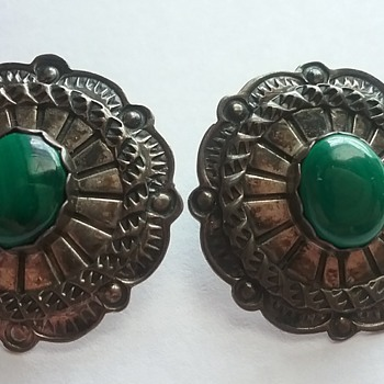 S. Dickens Sterling earrings with Malachite stone! Beautiful!  - Fine Jewelry