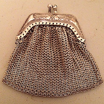 W. German Sterling Wire Mesh Purse - Art Nouveau