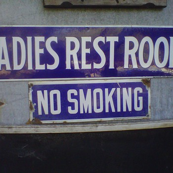 Porcelain No Smoking and Womens rest room signs - Signs