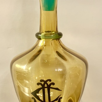 WHO Made It? Topaz and Blue Glass Decanter - Art Glass