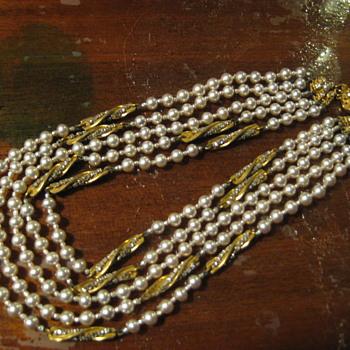 Multi Strand Pearl Choker by MIRIAM HASKELL - Costume Jewelry