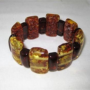 Faux amber chunky stretch bracelet - Costume Jewelry