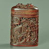 19th century Chinese Qing dynasty Carved Buffalo horn tobacco box