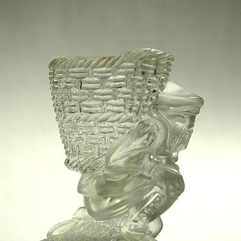 antique victorian baccarat cristal glass pyrogen & match holder - Art Glass