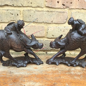Pair of 1920's Chinese wooden bull figures inlaid  - Asian