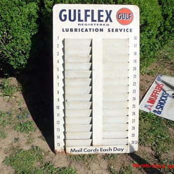 GULFLEX service reminder postcard rack - Petroliana