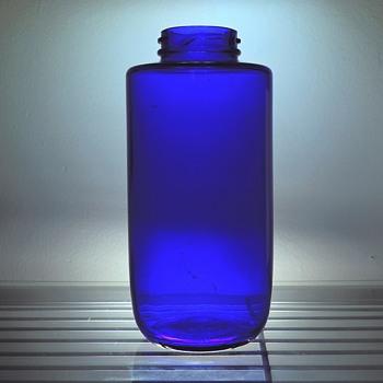 Cobalt Blue Phillips Milk of Magnesia Bottle Vintage Maryland Glass Round 22 Ounces Medicine Apothecary - Bottles