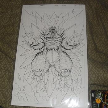 Godzilla Kingdom of monsters #12 orginal SpaceGodzilla art Cover.