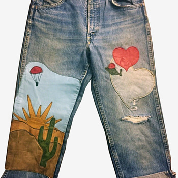 LEVIS BIG E Orange Tag Hippie Custom Leather Applique Jeans c. 1960-70s  - Mens Clothing