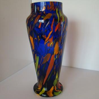 Bohemian (?) spatter vase - Art Glass