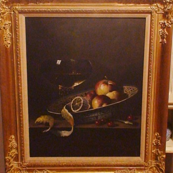 Still Life oil on canvas by Hungarian artist Andreas Gyula A. Bubarnik (b 1936 Hungary) in gold gilt wood frame.  - Fine Art