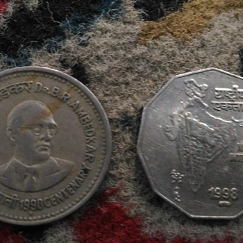 1 and 2 rupee Indian coins