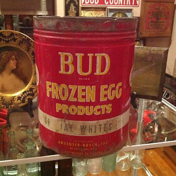 Budweiser egg whites tin can - Breweriana