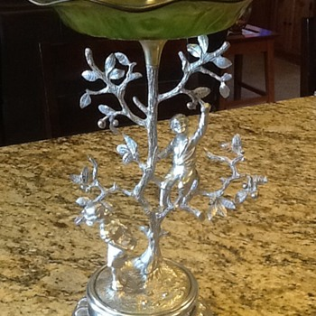 19th Century Silver and Glass Compote Centerpiece  - Art Glass