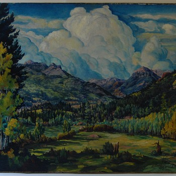 WPA/Social Realist Esquipula Romero de Romero (NM, 1889 – 1975) Oil on Canvas Sandia Mountains Landscape Painting - Fine Art