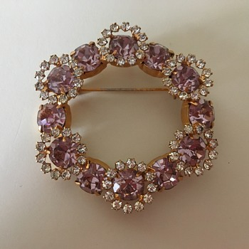 Rhinestone Brooch  - Costume Jewelry