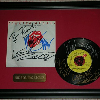 Undercover of the Night Rolling Stones Signed 45 & Picture Sleeve - Music Memorabilia