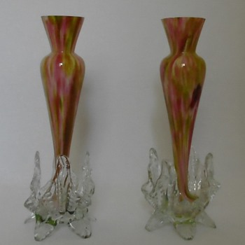 Welz Vases on Applied Leafy Feet - Art Glass
