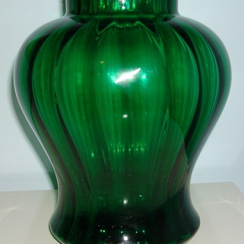 Green ribbed vase, Belgium? - Art Glass