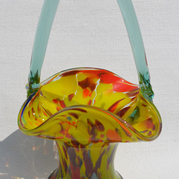 Czech spatter basket - Art Glass