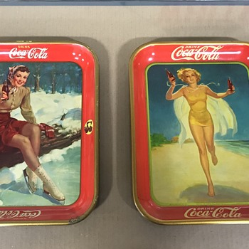 Coca Cola trays 1941 and 1937  - Coca-Cola