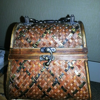 Vintage Cedar Wood Handbag / Purse Tortise Shell or Copper Weave? - Bags