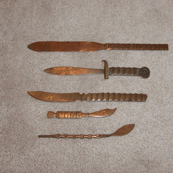 WW1 Trench Art Driving Band Letter Openers - Military and Wartime
