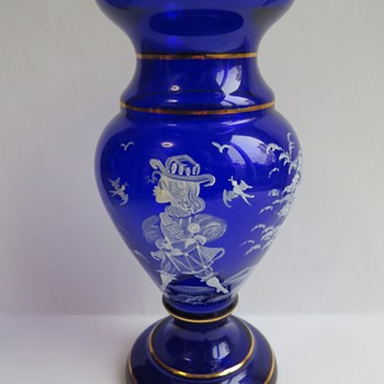 Cobalt Blue Glass Vase - Mary Gregory Style - Art Glass