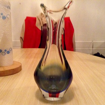 Thick glass vase, heavy