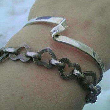 Silver cuff and heart link bracelet